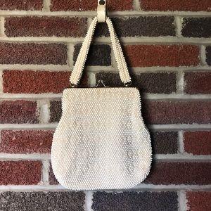 White beaded metal framed ball clasp evening bag